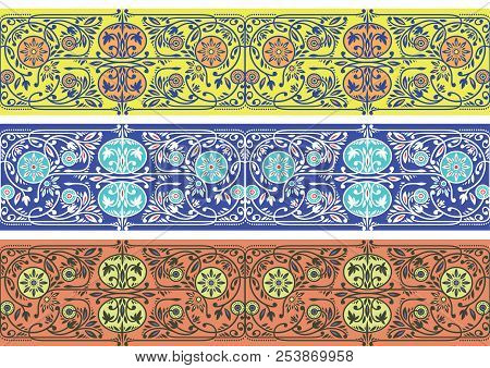Yellow, Blue And Orange Floral Borders Collection. Three Seamless Vector Band