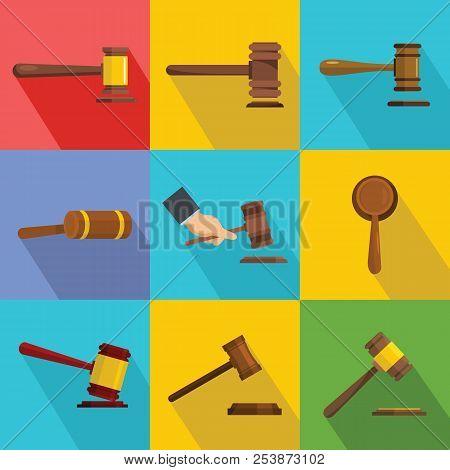 Judge Hammer Icons Set. Flat Illustration Of 9 Judge Hammer Icons For Web