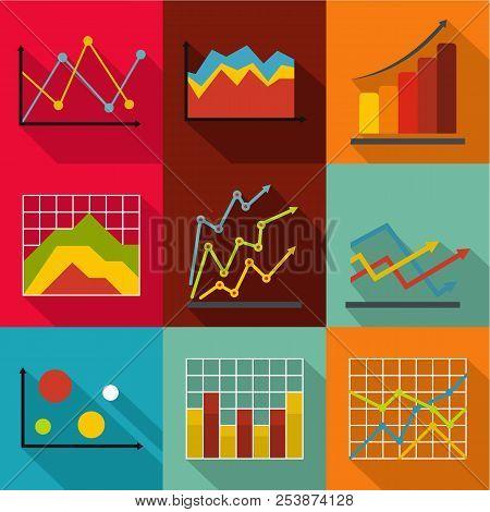 Economic Study Icons Set. Flat Set Of 9 Economic Study Icons For Web Isolated On White Background
