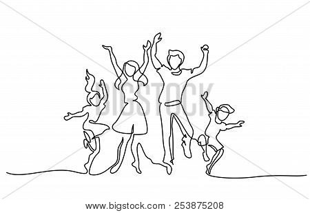 Happy Family Mother Father Dancing With Children
