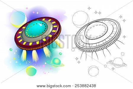 Colorful And Black And White Pattern Of Fantastic Flying Saucer. Worksheet For Children And Adults.