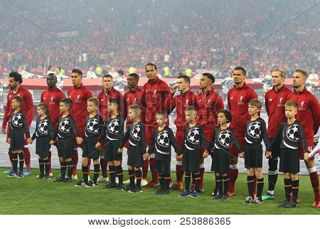 Kyiv, Ukraine - May 26, 2018: Liverpool Players Listen To Champions League Anthem Before The Uefa Ch