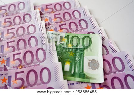 Five Hundred Euros Banknotes In Row And One Hundred Euros Banknote
