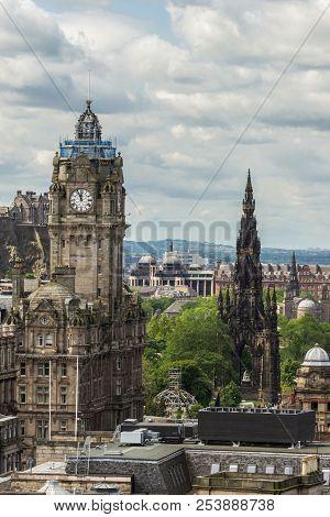 Edinburgh, Scotland, Uk - June 13, 2012: Looking From Calton Hill Upon The Balmoral Clock Tower Alon