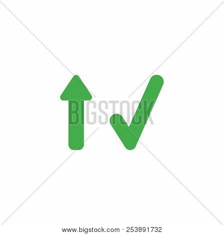 Flat Design Style Vector Illustration Concept Of Green Arrow Pointing Up And Green Check Mark Symbol