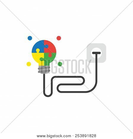 Flat Design Style Vector Illustration Concept Of Glowing Four Part Blue, Red, Yellow And Green Puzzl