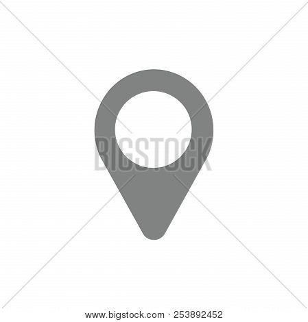 Flat Design Style Vector Illustration Of Grey And White Placemarker Pointe Symbol Icon On White Back