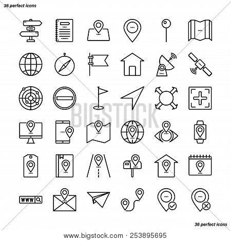 Address Outline Icons Perfect Pixel. Use For Website, Template,package, Platform. Concept Business O
