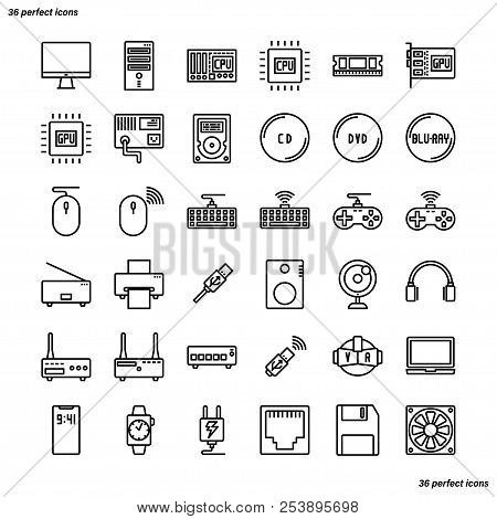 Computer Outline Icons Perfect Pixel. Use For Website, Template,package, Platform. Concept Business