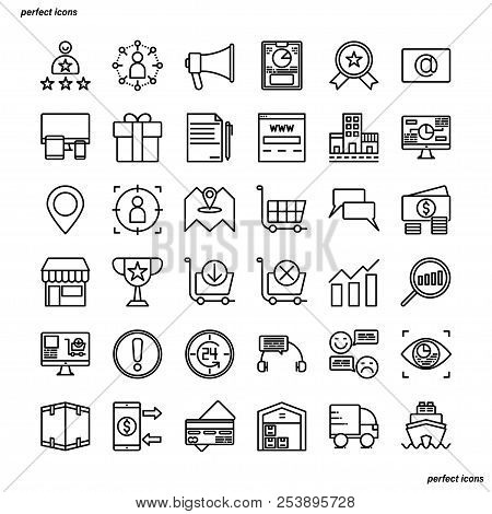 Marketing Outline Icons Perfect Pixel. Use For Website, Template,package, Platform. Concept Business