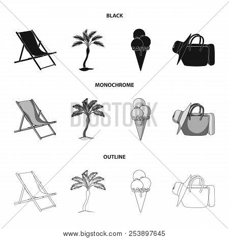 Beach, Palm Tree, Ice Cream.summer Vacation Set Collection Icons In Black, Monochrome, Outline Style
