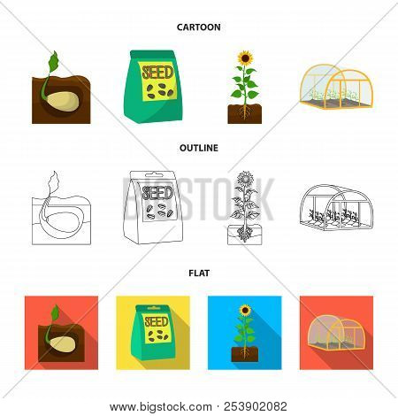 Company, Ecology, And Other Web Icon In Cartoon, Outline, Flat Style. Husks, Fines, Garden Icons In