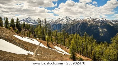 Mount Nelson And Bruce Ridge Hiking Trail In The Purcell Mountains, British Columbia, Canada
