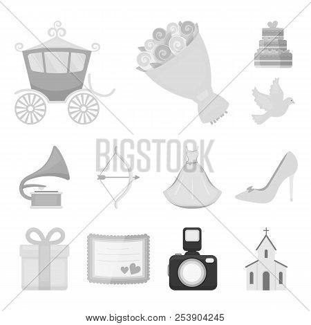 Wedding And Attributes Monochrome Icons In Set Collection For Design.newlyweds And Accessories Vecto