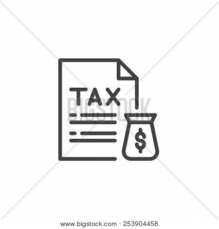 Tax Document And Money Bag Outline Icon. Linear Style Sign For Mobile Concept And Web Design. Taxes