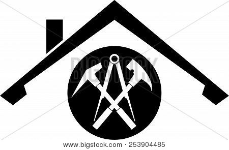 Roof And Roofing Tools, Roofer Logo Or Sticker Label