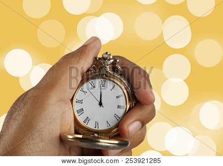 New Year Countdown Concept Golden Antique Watch In A Hand