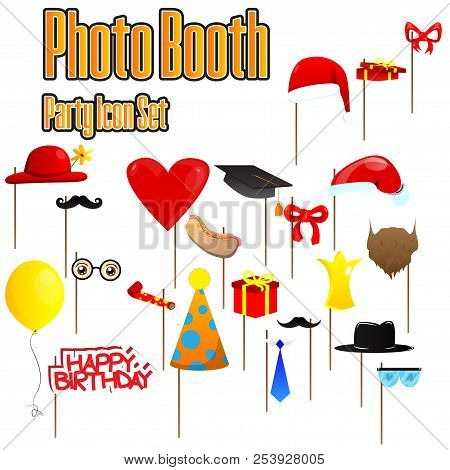 Set Of Party Photobooth Props. Vector Illustrated Elements On Sticks For Birthdays, Christmas, Gradu