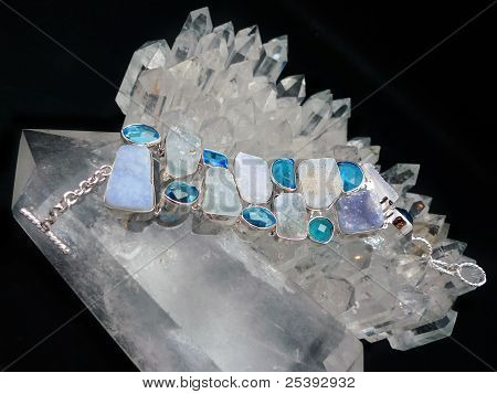 Silver Gemstone Bracelet On Quartz Crystals