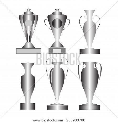 Set Silver Cup Award. Modern Symbol Of Victory, Award Achievement Sport. Insignia Ceremony Awarding