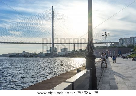 Vladivostok, Russia-august 11, 2018: The Cesarevitch Quay Overlooking The Golden Bridge