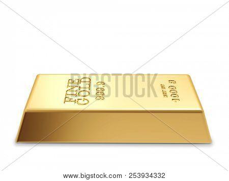 Single Gold Bar Isolated on White Background. Gold Bullion Concept Image. 3D Illustration.
