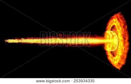 Fire from Flame Thrower Hitting the Wall Isolated on Black Background. 3D Illustration.