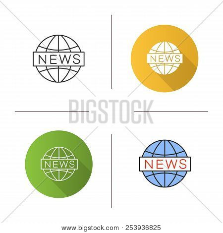 Global News Icon. Newscast. Flat Design, Linear And Color Styles. Isolated Vector Illustrations