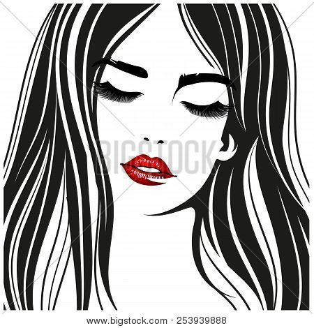 Woman With Red Lips. Vector Fashion Portrait