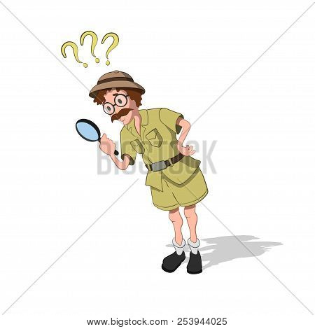 Professor With Loupe In Cartoon Style. Image Of Finder In Isometric View. Drawing Of Jungle Research