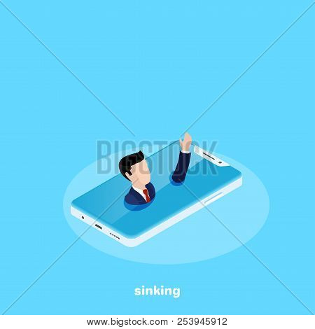 A Man In A Business Suit Is Drowning In A Smartphone, An Isometric Image