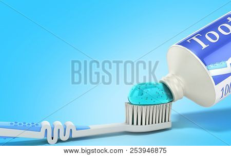 Modern Concept Of The Design Of A Tube Of Toothpaste Toothpaste Tube With Toothbrush 3d Render On Bl