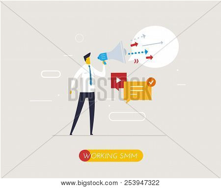 Businessman With Megaphone Looking To The Future. Growth Charts. Success, Growth Rates. Work Flow, G