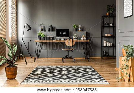 Scandi Grey Home Office Interior