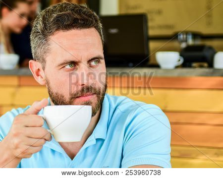 Start Day With Big Cup Of Coffee. Man Bearded Serious Face Needs Energy Charge. Traditional Coffee B