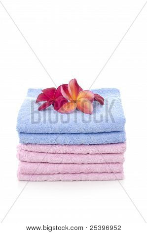 Towels With Frangipani  Flowers