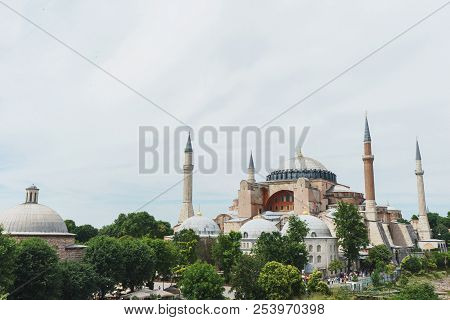 Mosque, Cathedral And Museum Hagia Sophia In The Historical Center Of Istanbul. Walking Around Istan