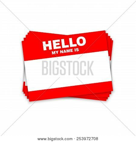 Blank Template Tag My Name Is. Red Color Blank Stickers White Label Isolated On White Background.