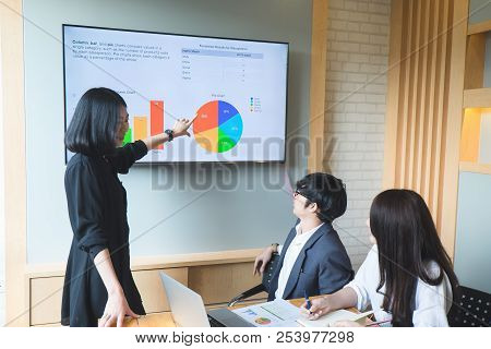 Asian Business People Meeting With New Startup Project Pointing Graph Discussion And Analysis Data C