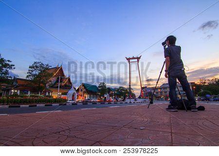 Photographer Take The Photo At Giant Swing Landmark Of Bangkok City / Sao Ching Cha Landmark In Bang