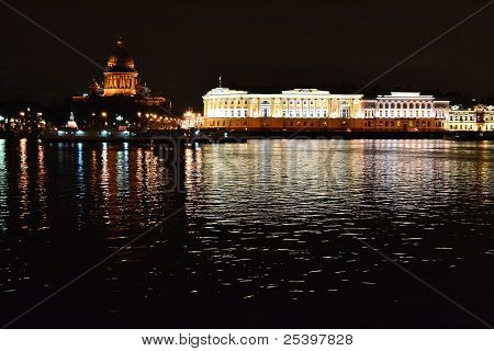Night View Of The St Petersburg.