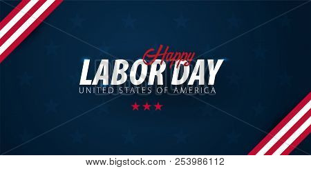 Labor Day Sale Promotion, Advertising, Poster, Banner, Template With American Flag. American Labor D