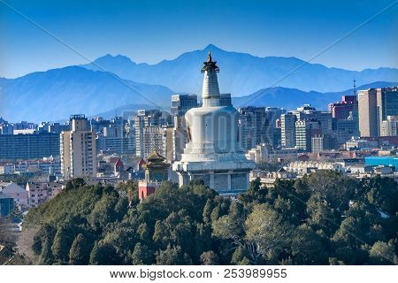Beihai Stupa Park Mountains From Prospect Hill Jingshan Park Beijing China Beihai Park Is A Public P