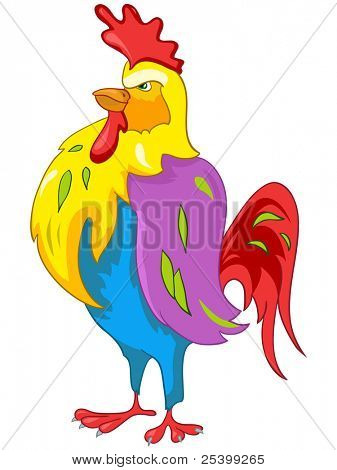 Cartoon Character Chicken Isolated on White Background. Vector. poster