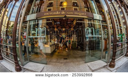 Madrid, Spain - August 27, 2017: A Fisheye Outside View Of The