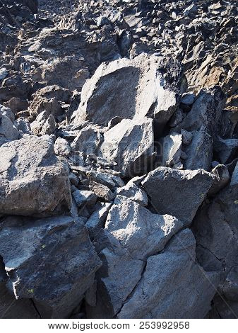 The Rugged Terrain Of The Jagged Rocks At The Big Obsidian Flow In The Newberry National Volcanic Mo