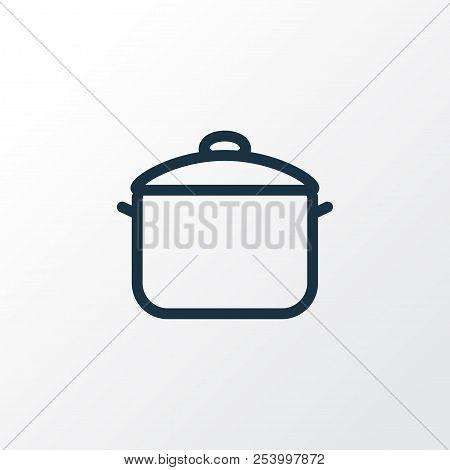 Saucepan Icon Line Symbol. Premium Quality Isolated Casserole Element In Trendy Style.