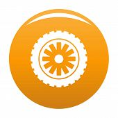 Rubber protector icon. Simple illustration of rubber protector vector icon for any design orange poster