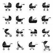 Pram stroller carriage cradle buggy icons set. Simple illustration of 16 pram stroller carriage cradle buggy icons for web poster