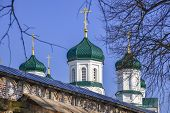 Gilded Orthodox crosses on the green domes of the Church of the blessed virgin Ipatiev monastery poster